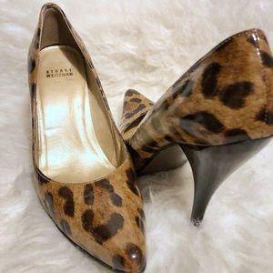 Stuart Weitzman patent leather animal print heels